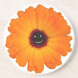 Smiling Orange Flower Sandstone Coaster