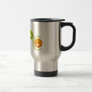 Smiling orange stainless steel travel mug