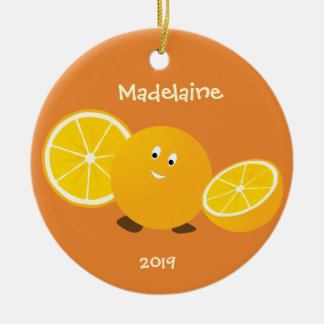 Smiling Orange with orange pieces | Christmas Ornament