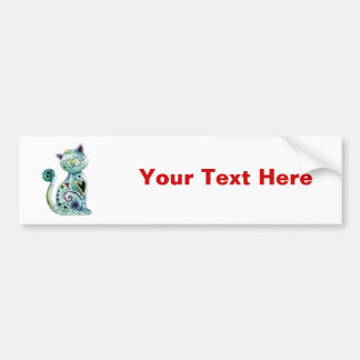 Smiling Painted Cat with Hearts Bumper Sticker