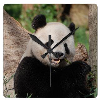 Smiling Panda Bear Square Wall Clock
