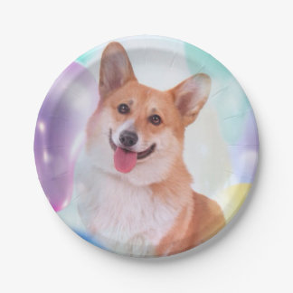 Smiling Pembroke Welsh Corgi with Balloons 7 Inch Paper Plate
