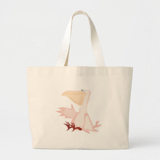 smiling pink pelican large tote bag