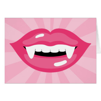Smiling Pink Vampire Lips With Fangs Cards