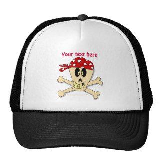 Smiling Pirate Skull and Cross Bones Mesh Hat
