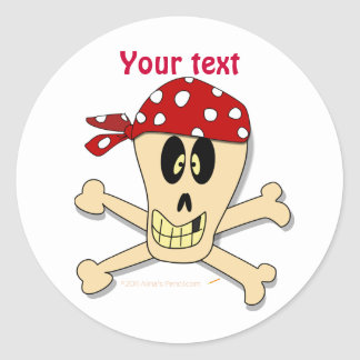 Smiling Pirate Skull and Cross Bones Round Sticker