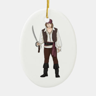 Smiling Pirate with Sword Ceramic Oval Decoration