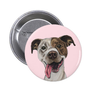 Smiling Pit Bull Dog Drawing 6 Cm Round Badge