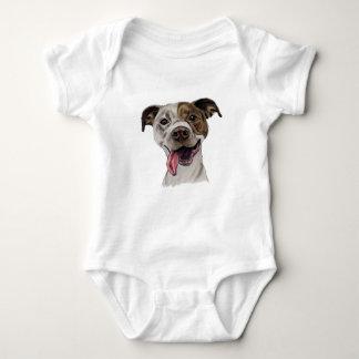 Smiling Pit Bull Dog Drawing Baby Bodysuit
