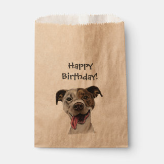 Smiling Pit Bull Dog Drawing Birthday Favour Bags