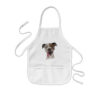 Smiling Pit Bull Dog Drawing Kids Apron