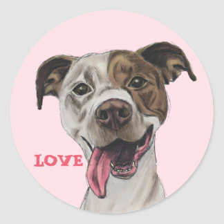 Smiling Pit Bull Dog Drawing LOVE Classic Round Sticker