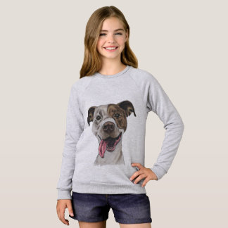 Smiling Pit Bull Dog Drawing Sweatshirt