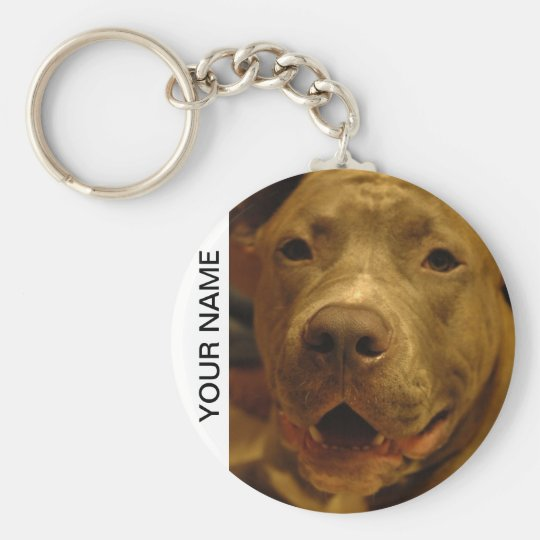 Smiling Pitbull Basic Round Button Key Ring