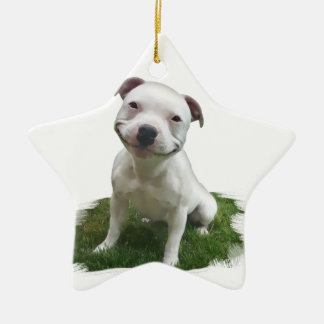 Smiling Pittie Christmas Ornament
