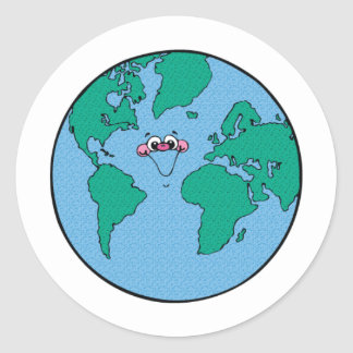 Smiling Planet Earth Round Sticker