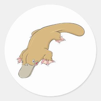 Smiling Platypus Round Sticker