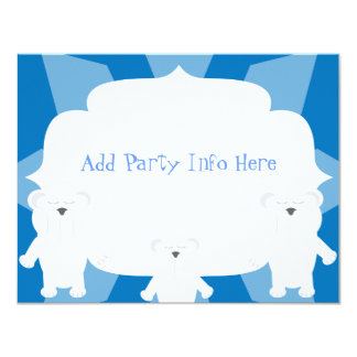 Smiling Polar Bears 11 Cm X 14 Cm Invitation Card