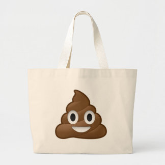 Smiling Poop Emoji Large Tote Bag