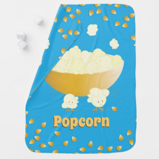 Smiling Popcorn and Bowl   Baby Blanket