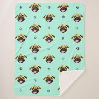 Smiling Pug Face Fleece Blanket