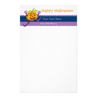 Smiling Pumpkin Happy Halloween Custom Stationery