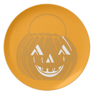 Smiling Pumpkin Pail Orange Party Plate