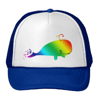 Smiling Rainbow Whale With Bubbles Cap
