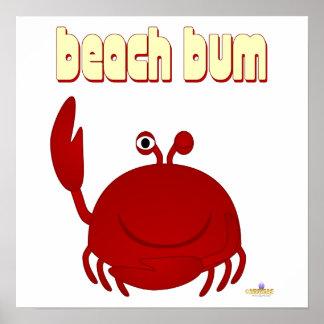 Smiling Red Crab Beach Bum Poster