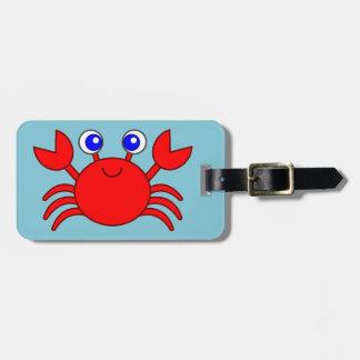 Smiling red crab cartoon luggage tag