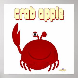 Smiling Red Crab Crab Apple Print