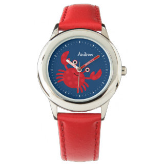 Smiling Red Crab Kid's Personalized Wrist Watches