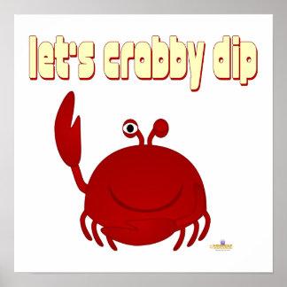 Smiling Red Crab Let's   Dip Print