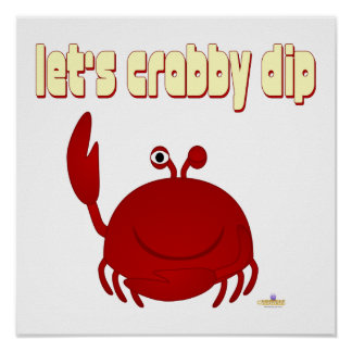 Smiling Red Crab Let's   Dip Poster