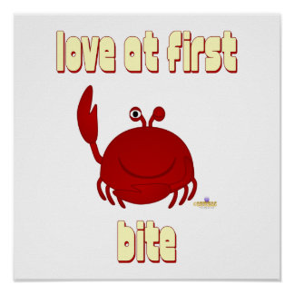 Smiling Red Crab Love At First Bite Poster