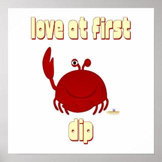 Smiling Red Crab Love At First Dip Poster