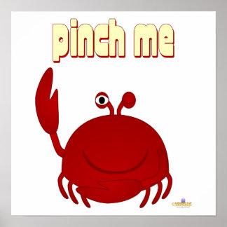 Smiling Red Crab Pinch Me Poster