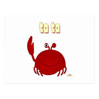 Smiling Red Crab Ta Ta Postcard