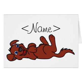 Smiling Red Puppy Dog Roll Over Greeting Card