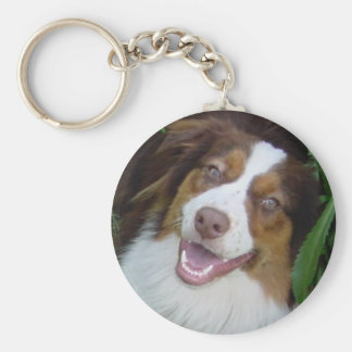 Smiling Red Tri Aussie Basic Round Button Key Ring