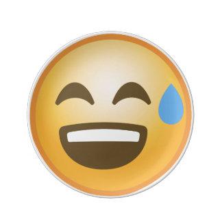 Smiling Relieved Emoji Porcelain Plate