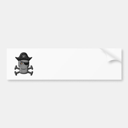 Smiling Robot Pirate Jolly Roger Bumper Stickers