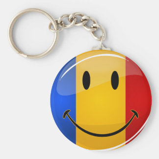 Smiling Romanian Flag Basic Round Button Key Ring