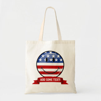 Smiling Round American Flag Tote Bag