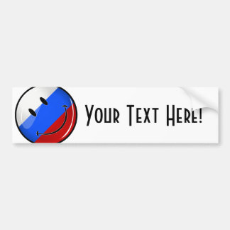 Smiling Russian Flag Car Bumper Sticker