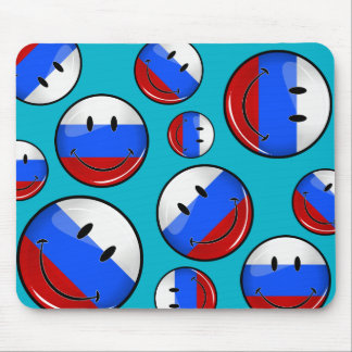 Smiling Russian Flag Mouse Pad