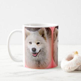 Smiling Samoyed red frame white mug