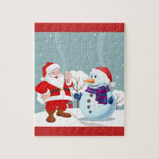 Smiling Santa And Snowman Jigsaw Puzzle
