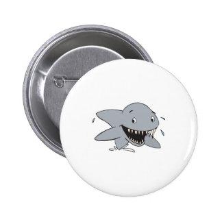 smiling shark 6 cm round badge