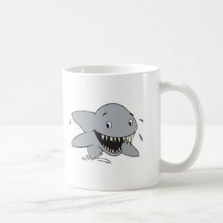 smiling shark basic white mug